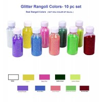 Generic Rangoli Powder Bottle- Festival Colours (100gm)- Set of 10